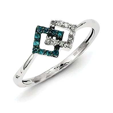 Sterling Silver With Blue and White Rough Diamond Ring - Ring Size Options Range: L to P