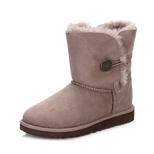 UGG Enfants Stormy Gris Bailey Button Sheepskin Bottes