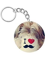 I Love Moustache | ShopTwiz Printed Circle Key Ring