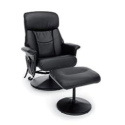 Essentials by OFM ESS-7050M Heated Shiatsu Massage Leather Recliner and Ottoman, Black