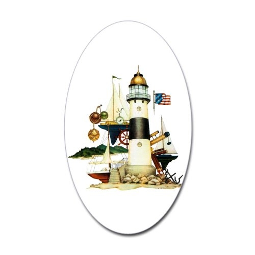 Sticker (Oval) Nautical Vintage Lighthouse Telescope Steering Wheel Anchor And Ships