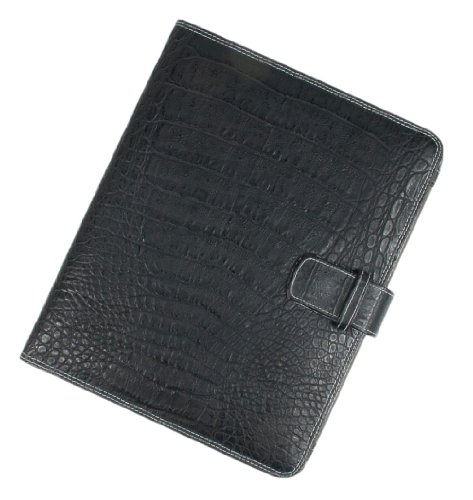 Real Leather Executive BLACK CROCODILE SKIN LOOK IPAD 1 & 2 COVER Folio Wallet-FREE SHIPPING