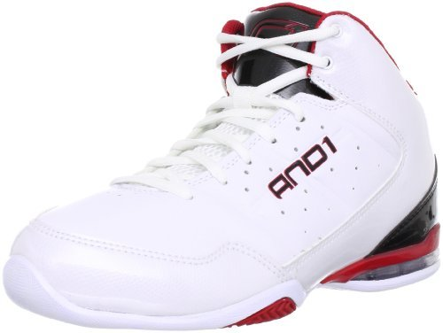 AND1 Men's Master Mid Basketball Shoe (18, White/Black/Victory Red)