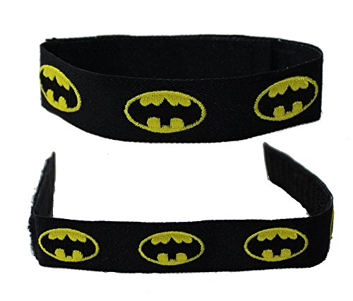 Batman DC Comics Batman Logo Embroidered Fabric Wristband with Velcro Closure - 1