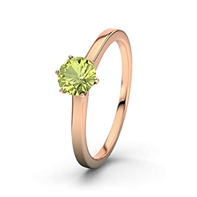 21DIAMONDS Women's Ring Azores Peridot Round Brilliant Cut Engagement Ring, 18 K Rose Gold Engagement Ring