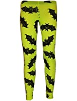 Neon UV Bats Flock Print Leggings