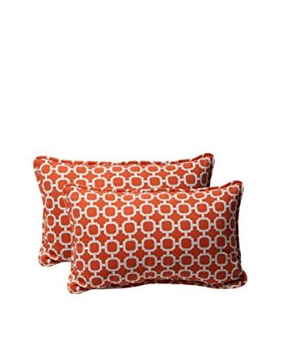 Pillow Perfect Set of 2 Indoor/Outdoor Hockley Lumbar Pillows, Orange