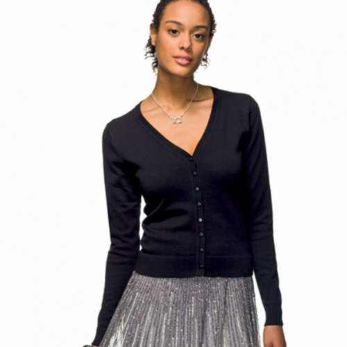 HANES WOMENS FITTED V NECK CARDIGAN - 2 COLOURS
