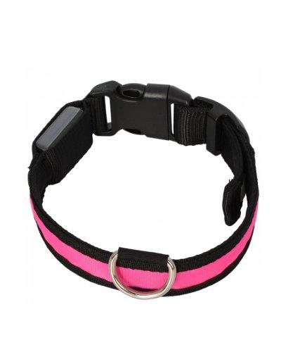 Adjustable Fashionable Flashing Nylon Led Light Pet Dog Safety Collar Pink - Size L Large