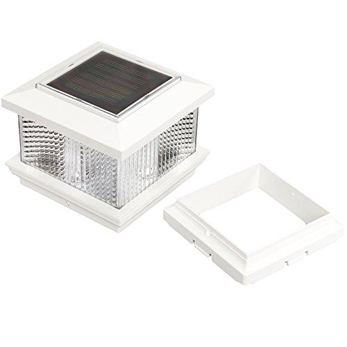 "Outdoor Lamp Post Adapter: (4 Pack) GreenLighting 5"" X 5"" Solar LED Post Cap Light W"
