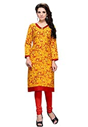 JCM Krishriyaa Women's Yellow Printed Cotton Straight Kurti With L size