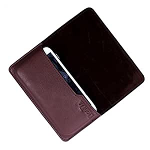 Dooda Genuine Leather Flip Pouch Case For HTC One Max (BROWN)
