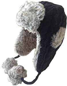 Nirvanna Designs CH508 Cable Russian Earflap Hat with Faux Fur, Black