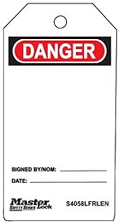 "Master Lock ""Danger"" Tag, Plastic, 5-3/4"" Height, 3"" Width"