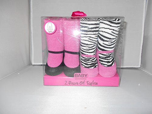 Baby Essentials Hot Pink and Zebra Stripe Tights 0-6m (2 Pairs)