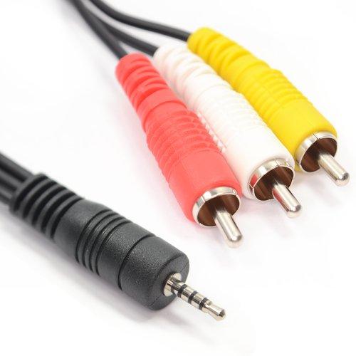 2,5 mm Klinkenstecker Zum 3 Chinch Cinch 4 Polig AV Ausgang TV Kabel Anschlusskabel 1,5 m