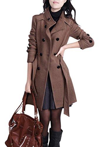 Missfox Donna Casual Elegante Doppio Petto Pocket Vento Cappotto Size S Caffè