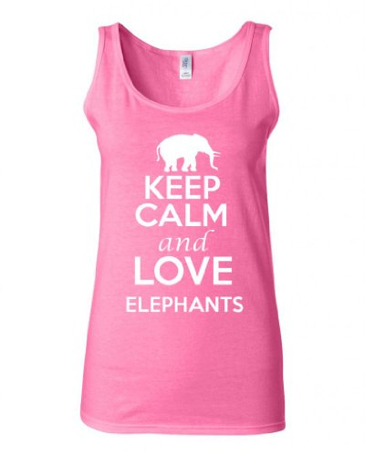 Junior Keep Calm And Love Elephants Graphic Humor Novelty Tank Top