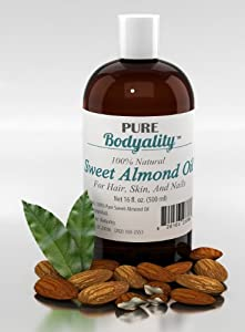100% Pure Sweet Almond Oil 16oz - Carrier Oil for Essential Oils - One of Nature's Best Skin Care Products - Cold Pressed, Natural Moisturizer and Conditioner for Beautiful Hair, Skin, Face, Nails, Lips, and Hands - Massage Oil for Men & Women - Promotes Healthy Hair Growth - Anti-Aging/Anti-Wrinkle Benefits - Satisfaction Guaranteed