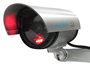 HooToo® HT-DC002 Indoor/Outdoor Dummy Camera, Professional Simulated Surveillance Cam with Blinking Lights, Silver