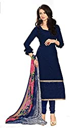 Fashions World Fancy Navy Blue Georgette Dress Material