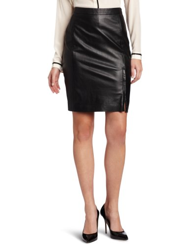 DKNYC Women's Pencil Skirt with Front Zipper, Black, 08 Image