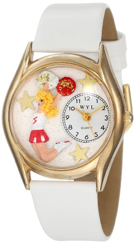 whimsical-watches-cheerleader-white-leather-and-goldtone-unisex-quartz-watch-with-white-dial-analogu