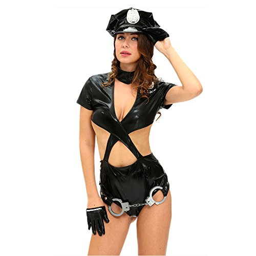 Slocyclub Sexy Cop Police Women Outfit Stage Role Play (Mad Hatter Coustume)
