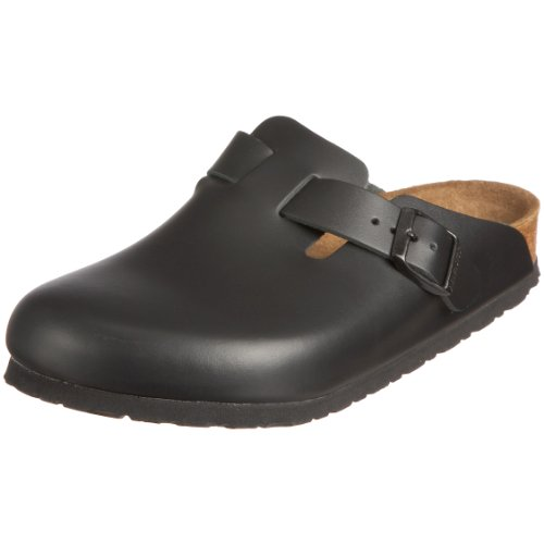 Birkenstock Boston Smooth Leather, Style-No. 60413, Unisex Clogs, Black, EU 40, slim width