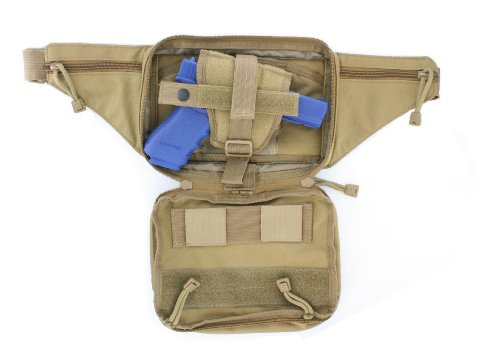 Tan / Coyote Molle Tactical Pistol Concealment Fanny Pack CCW Concealed Carry Gun Handgun Firearm Pouch from Roma