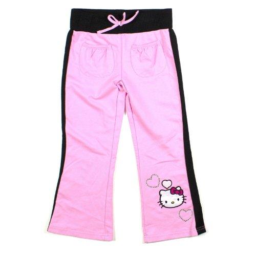 Girls Hello Kitty Rhinestone Embellished Sweatpants 4 Pink front-884751