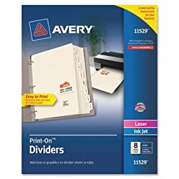 Avery AVE11528 Print-On Dividers 9.5 in. x 11 in. 8TB-1ST White