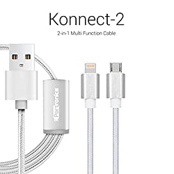 Portronics Konnect-2 two-in-one Multi function cable with lightning & micro usb port-Silver