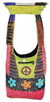 Shangri-La Nook Cotton crossbody Messanger Flower Embroidery Gypsy Bag Handmade in Nepal