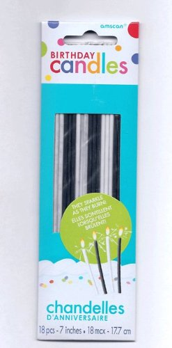 Black And White Sparkle Birthday Cake Candles - 18 Pcs - 1
