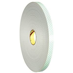 3M Double Coated Urethane Foam Tape 4008 Off-White, 1 Inch x 4 Yards 1/8-inch