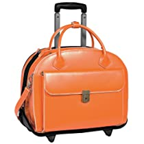 W Series Glen Ellyn Leather 2-in-1 Removable-Wheeled Womens Briefcase Color: Orange