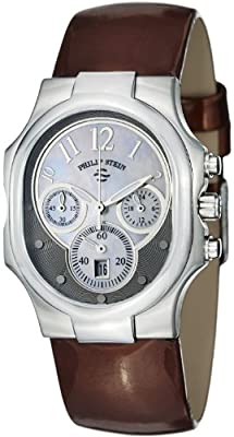 Philip Stein Classic Chrono Ladies Brown Patent Leather Strap Watch 22-FGR-LCH