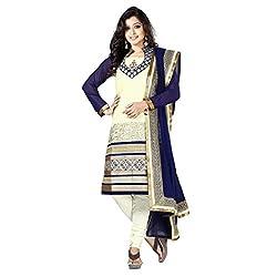 Urjita Creations Beige Art Silk (Bhagalpuri Silk) Semi-Stitiched Suit
