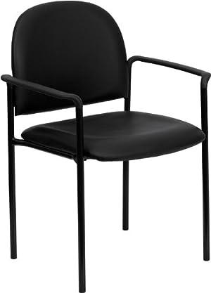 Flash Furniture BT-516-1-VINYL-GG Black Vinyl Comfortable Stackable Steel
