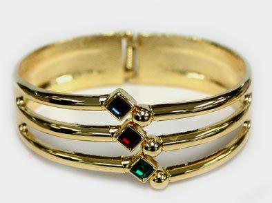 Gold Coated Three Diamond Shaped Gemstone Bangle Cuff - Fashion Bracelet