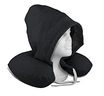 SilverRest Hooded Memory Foam U-Neck Travel Pillow w/ Carrying Case, Sweatshirt Charcoal