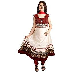 Pretty Me Golden Maroon Cotton Anarkali Dress By Ethnic Colours