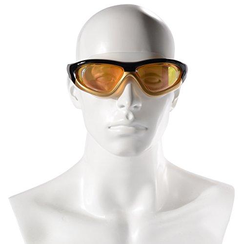 Xcellent Global Schwimmbrille UV-Schutz Wasserdicht Beschlagschutz mit großem Rahmen gespiegelt und mit gutem Komfort, weiche Taucherbrille mit KOSTENLOSEN Ohrstöpseln für Erwachsene M-FS024