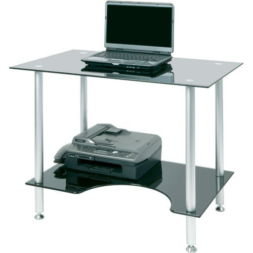 PC005LTB - Laptop or Small Computer Desk Black Glass