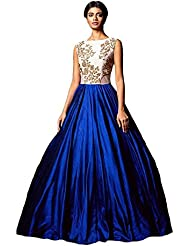 Jay Varudi Creation Women's Benglori Embroidery Work Semi Stitched Blue & White Gown
