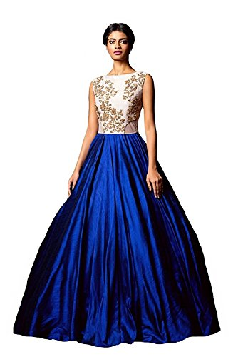 Jay-Varudi-Creation-Womens-Bhagalpuri-Silk-Blue-White-Semi-Stitched-Gown
