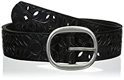 Fossil Women's Flirty Floral Perforated Belt, Black, X-Large