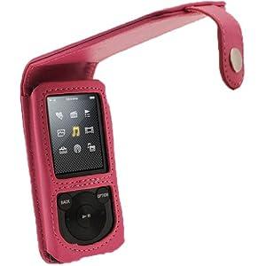 igadgitz Housse Etui Pochette Case relevable en Cuir PU de couleur Rose, pour des lecteurs MP3 Sony Walkman NWZ-E453/E454/E455/E463/E464 + protecteur écran