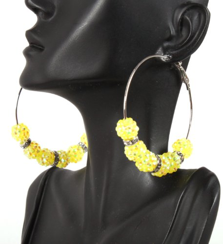 Basketball Wives Yellow 2.5 Inch Hoop Earrings with Six 10mm Shamballah Balls and Rondelle Spacers Lady Gaga Paparazzi Mob Wives